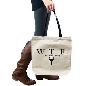 Funny Wine Time Finally Parody Alcohol Tote Handbag Shoulder Bag Purse