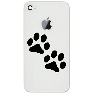 "Dog Paws Silhouette 2"" Vinyl Sticker Cell Phone Decal"