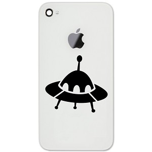"Alien Spaceship Silhouette 2"" Vinyl Sticker Cell Phone Decal"