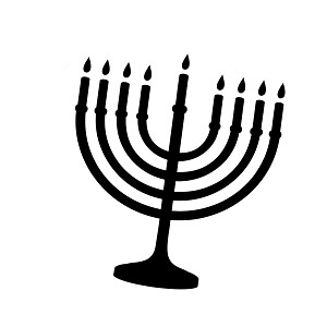 Jewish Hanukkah Menorah Silhouette Vinyl Sticker Car Decal