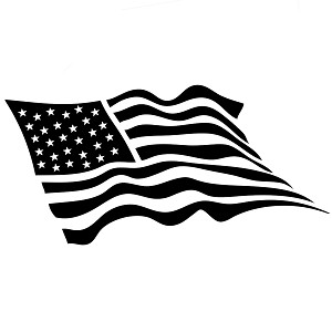 Waving USA Flag Patriotic Vinyl Sticker Car Decal