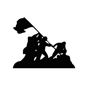 Iwo Jima WWII Silhouette Vinyl Sticker Car Decal
