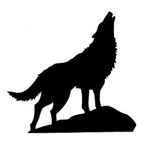 Howling Wolf Silhouette Vinyl Sticker Car Decal