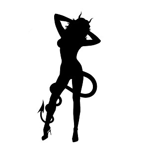 Sexy Devil Girl Horns Tail Silhouette Vinyl Sticker Car Decal
