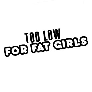 Too Low For Fat Girls Funny JDM Lowered Lifestyle Vinyl Sticker Car Decal