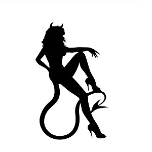 Sexy Devil Girl Sitting Horns Tail Vinyl Sticker Car Decal