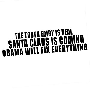 Tooth Fairy Santa Claus Obama Funny Vinyl Sticker Car Decal