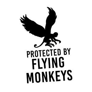 Funny Protected By Flying Monkeys Vinyl Sticker Car Decal
