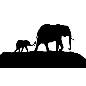 Elephant Family Mother Father Baby Silhouette Vinyl Sticker Car Decal