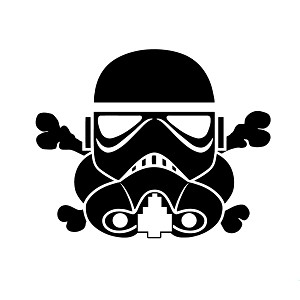 Stormtrooper and Crossbones Vinyl Sticker Car Decal