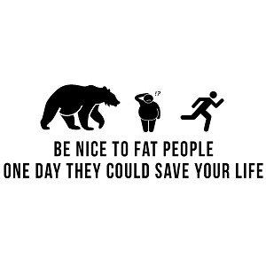 Be Nice to Fat People Funny Chasing Bear Vinyl Sticker Car Decal