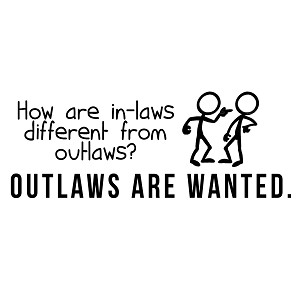 Difference Between Inlaws and Outlaws Funny Family Vinyl Sticker Car Decal