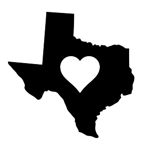 texas heart state silhouette vinyl sticker car decal