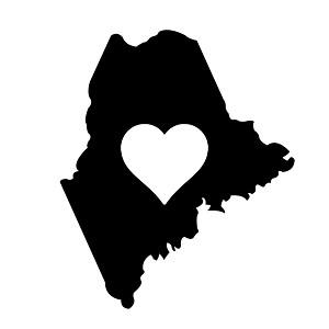 Maine Heart State Silhouette Vinyl Sticker Car Decal
