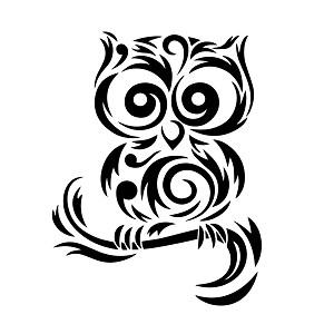 Tribal Cute Owl Silhouette Vinyl Sticker Car Decal