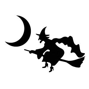 Witch Flying Broom Moon Spooky Silhouette Halloween Vinyl