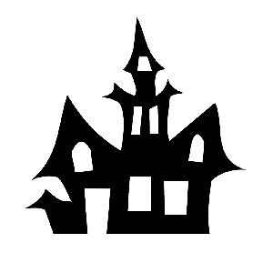 Haunted House Silhouette Spooky Halloween Vinyl Sticker