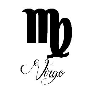 Zodiac Sign Virgo Script Writing Silhouette Vinyl Sticker