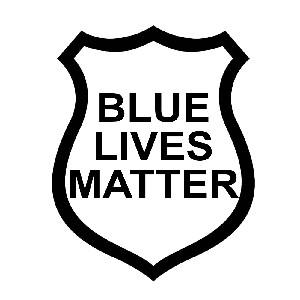 blue lives matter police badge outline vinyl sticker car decal