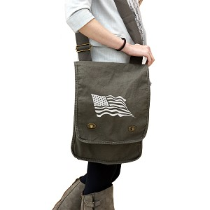 Waving USA Flag Patriotic 14 oz. Authentic Pigment-Dyed Canvas Field Bag Tote