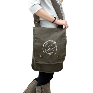 Funny Laughing Meme Face 14 oz. Authentic Pigment-Dyed Canvas Field Bag Tote