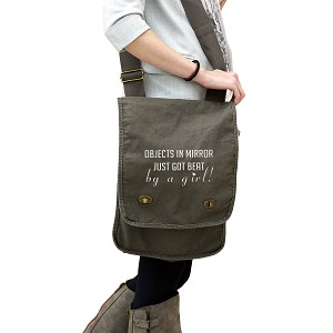 JDM Objects in Mirror Got Beat By a Girl 14 oz. Authentic Pigment-Dyed Canvas Field Bag Tote
