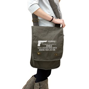 Warning Owner of Property is Armed Gun Funny 14 oz. Authentic Pigment-Dyed Canvas Field Bag Tote