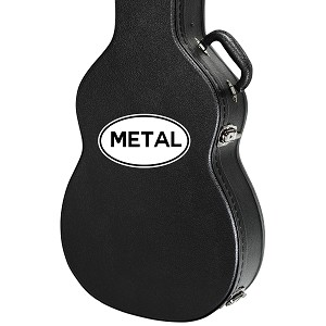 "Metal Oval Guitar Instrument Case Sticker  - 5"" wide x 3"" tall"