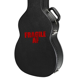 "Fragile AF Guitar Instrument Case Sticker  - 4.5"" wide x 2"" tall"