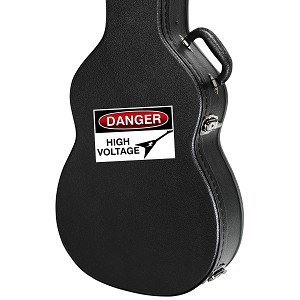 "Danger High Voltage Rock Guitar Instrument Case Sticker  - 4.5"" wide x 3"" tall"