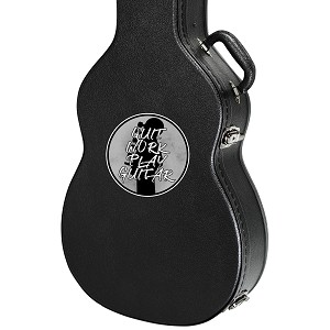 "Quit Work Play Guitar Guitar Instrument Case Sticker  - 4"" wide x 4"" tall"