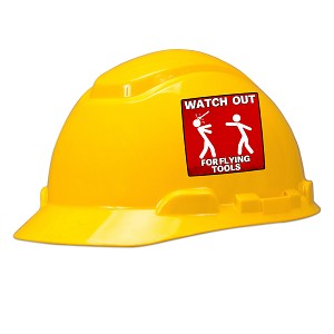 Watch Out For Flying Tools Hard Hat Helmet Sticker