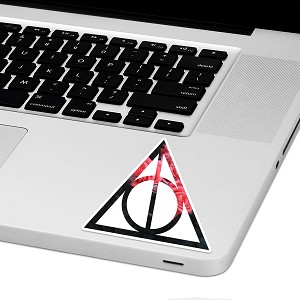 "Deathly Floral Hallows Laptop Trackpad Sticker 3"" tall x 3"" wide"
