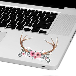 "Floral Antlers Laptop Trackpad Sticker 3"" tall x 4"" wide"
