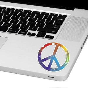"Rainbow Paint Peace Laptop Trackpad Sticker 3"" tall x 3"" wide"