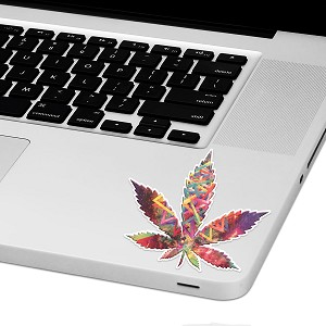 "Psychedelic Marjuana Leaf Laptop Trackpad Sticker 3"" tall x 3"" wide"