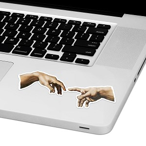 "Creation Hands Laptop Trackpad Sticker 1.5"" tall x 4"" wide"
