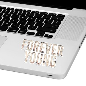"Forever Young Laptop Trackpad Sticker 2"" tall x 4"" wide"