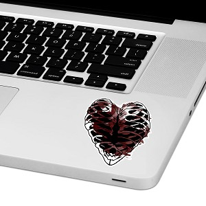 "Ribcage Heart Laptop Trackpad Sticker 3"" tall x 2.5"" wide"