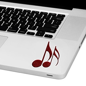 "Music Notes Laptop Trackpad Sticker 3"" tall x 2"" wide"