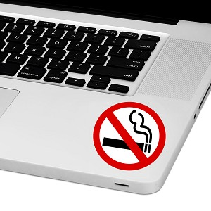 "No Smoking Laptop Trackpad Sticker 3"" tall x 3"" wide"