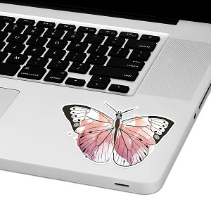 "Watercolor Butterfly Laptop Trackpad Sticker 2"" tall x 4"" wide"