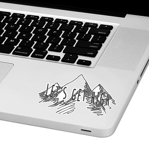 "Let's Get High Laptop Trackpad Sticker 2"" tall x 4"" wide"