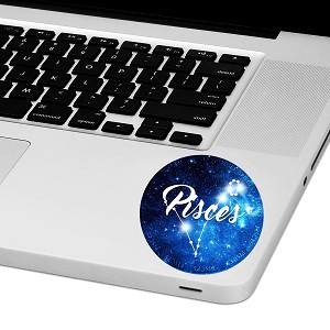 "Pisces Zodiac Sign Laptop Trackpad Sticker 3"" tall x 3"" wide"