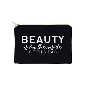 Beauty Is On The Inside Of This Bag 12 oz Cosmetic Makeup Cotton Canvas Bag