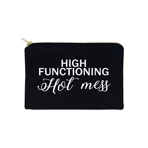 High Functioning Hot Mess 12 oz Cosmetic Makeup Cotton Canvas Bag