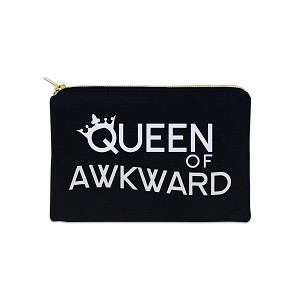 Queen Of Awkward 12 oz Cosmetic Makeup Cotton Canvas Bag