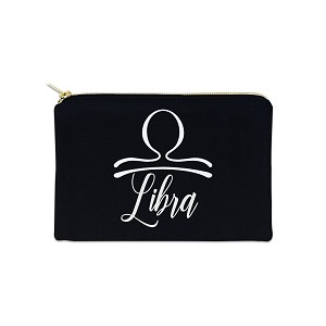 Libra Zodiac Sign 12 oz Cosmetic Makeup Cotton Canvas Bag