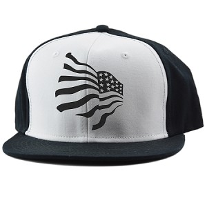 Waving American Flag Patriotic Black White Trucker Hat Decal Serpent™