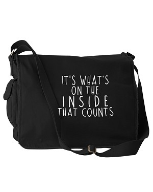 Funny It's What's On The Inside That Counts Black Canvas Messenger Bag